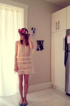 ivory free people dress - bubble gum flower crown Forever 21 accessories