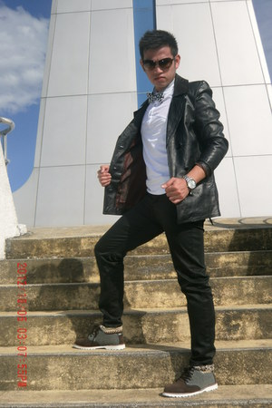 black Vintage Leather Suit jacket - heather gray Oxford shoes