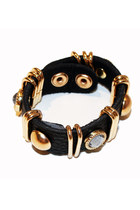 Black Studded Leather Bracelet