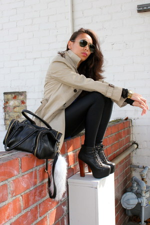 black Jeffrey Campbell shoes - beige trench coat Zara coat - black American Appa