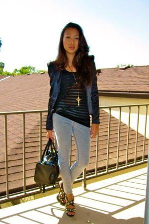 black Forever 21 blazer - silver Zara leggings - black H&M top - black H&M purse