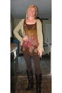 Sheer-dress-brown-boots-tan-sweater-brown-leggings-maroon-socks