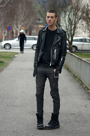 black Dr Martens boots - gray Cheap Monday jeans - black vintage jacket - dark g