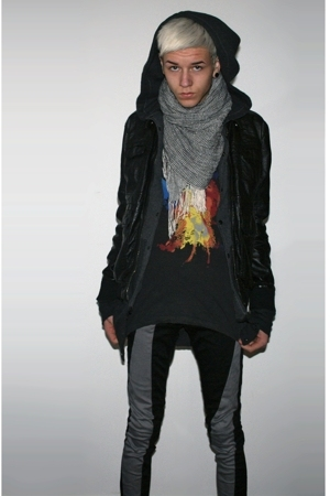 jacket - sweater - jeans - t-shirt - scarf