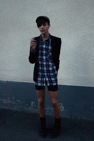 black H&M blazer - black Dr Martens boots - blue shirt