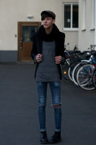 black H&M blazer - black Dr Martens boots - blue Cheap Monday jeans