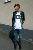 black vintage jacket - blue Cheap Monday jeans - black second hand shoes - white
