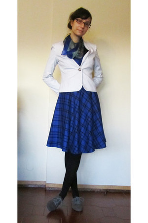 blue escada skirt - charcoal gray Seaside shoes - white H&M blazer