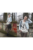 black Zara boots - light blue Pull and Bear jacket - black vintage bag