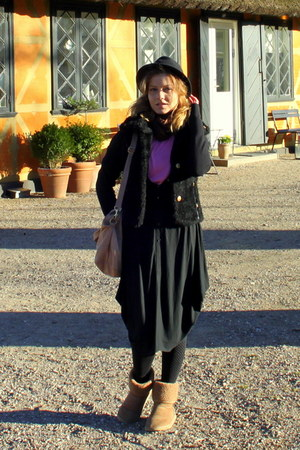 fur vintage coat - Ugg boots - Prag dress - hat - H&amp;M bag - Vero Moda blouse