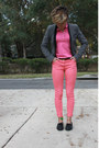 Dark-brown-leather-ann-taylor-loft-belt-salmon-high-waisted-h-m-jeans