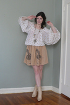 vintage shirt - Corey Lynn Calter skirt - michel perry boots - vintage necklace