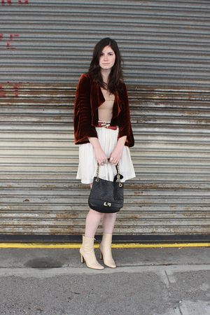 red Elizabeth and James jacket - beige Uniqlo shirt - white vintage skirt - beig