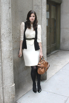 black vintage belt - black Lux vest - black loeffler randall shoes - brown Miu M