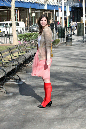 red We Love Colors socks - black loeffler randall shoes - pink shabby chic skirt