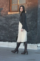 white ADAM dress - gray rag & bone jacket - purple ann demeulemeester boots - gr