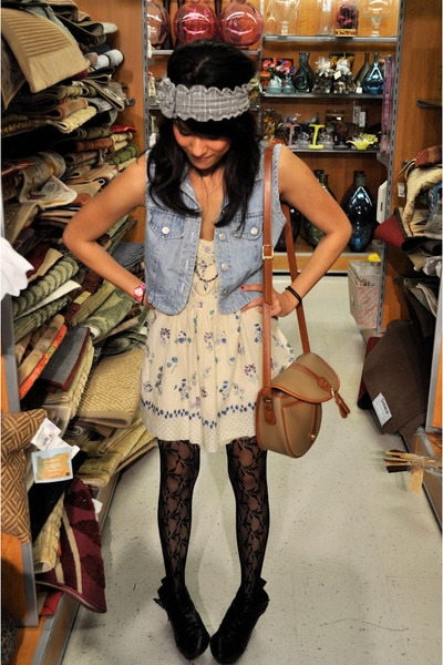 beige dress - blue vest - black Dolce Vita blouse - gray Urban Renewal accessori