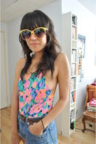 pink vintage swimwear - blue Guess shorts - gold Forever 21 sunglasses