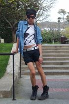 black Levis shorts - blue H&M shirt - white shirt - black Kenneth Cole shorts -