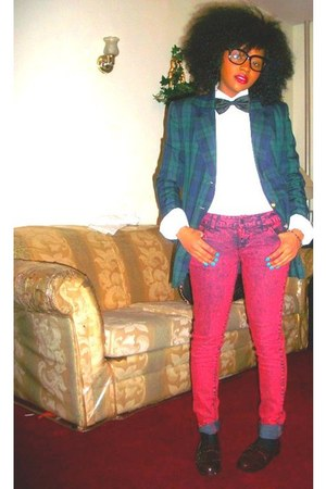 ruby red J Brand jeans - plaid thrifted vintage blazer - American Apparel socks