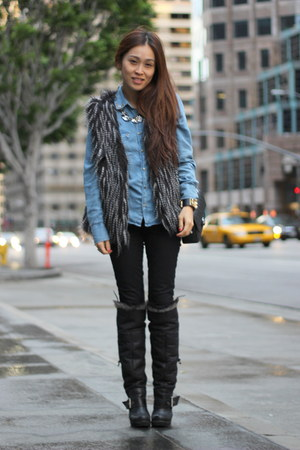 silver faux fur vest PUBLIK vest - black faux fur boots Aldo boots