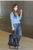 black Ferregamo bag - sky blue CALVIN RUCKER jeans - silver Joes Jeans loafers