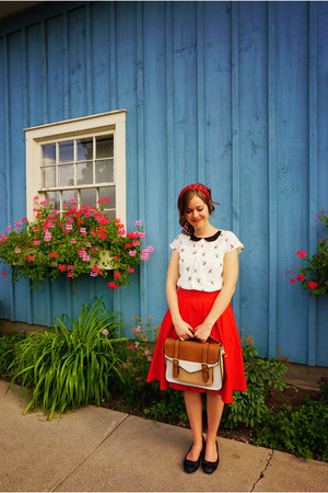 burnt orange Call it Spring bag - eggshell modcloth shirt - red flare Zara skirt
