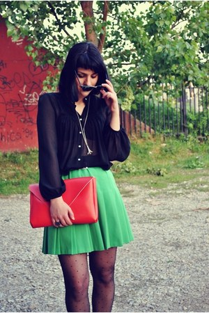 red self-made bag - chartreuse vintage skirt - black Zara blouse