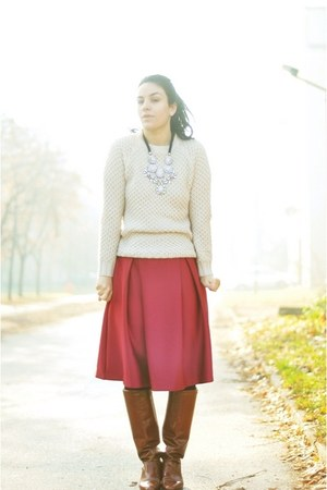 brick red Sheinsidecom skirt