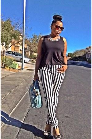 black cotton on shirt - white H&M jeans - light blue Dooney & Bourke bag