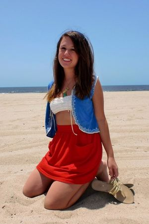 blue vest - gold shoes - white BCBG bra - red American Apparel skirt