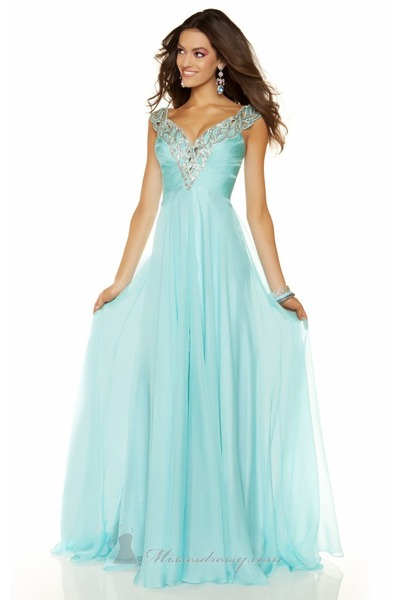 aquamarine chiffon sequins Mac Duggal dress
