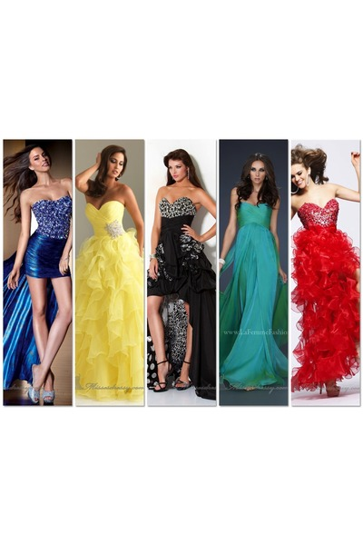 blue Alyce Designs dress - yellow Allure dress - black Jovani dress