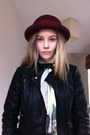 Ruby-red-burgandy-hat-vintage-hat-black-topshop-jacket