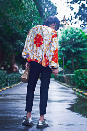 red baroque print VINTAGE VERSACE INSPIRED jacket