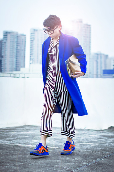 blue JIMMY KWOK coat - ivory SodaWater suit - carrot orange nike sneakers