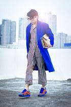 blue JIMMY KWOK coat - ivory SodaWater suit - carrot orange nike sneakers