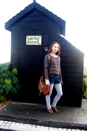 brown Topshop bag - brown Newlook jumper - blue Zara shorts - brown River Island