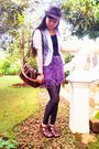 Brown-hat-silver-blazer-purple-skirt-brown-shoes