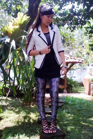 white blazer - silver leggings - black