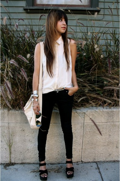 black pants - beige f21 blouse - beige See by Chloe bag - black joes shoes