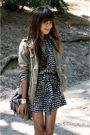 silver All Saints bag - blue Forever 21 dress - green Gap jacket