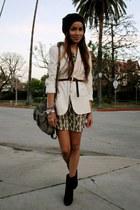navy suede tila march paris boots - ivory paisley print Tolani dress - white Hel