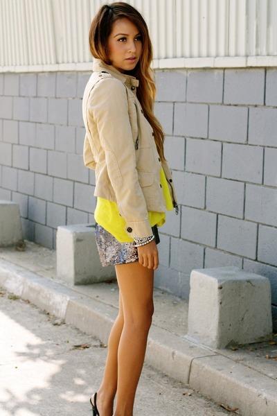 yellow Gap shirt - beige martin  osa jacket - puce sequins Hallelu shorts