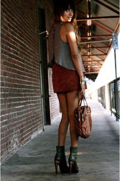 suede f21 skirt - PROENZA SCHOULER boots - Alexander Wang bag - ovi blouse