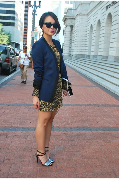 navy silk lapel Zara blazer - mustard leopard print rodarte x target dress