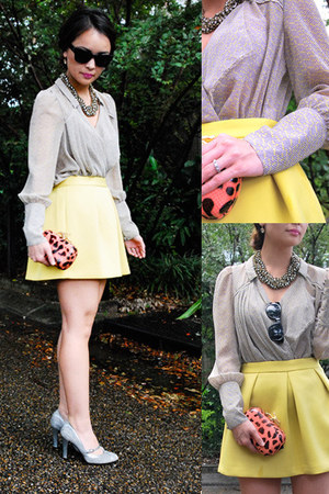 yellow neoprene asos skirt - hot pink clutch Diane Von Furstenberg bag