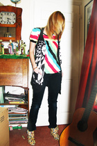 black Topshop cardigan - black new look pants - red H&M top - yellow shoes - bro