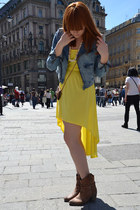 yellow asymmetric Forever 21 dress - dark brown Stiefelknig boots