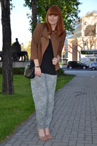 brown Zara jacket - black Primark bag - black H&M top